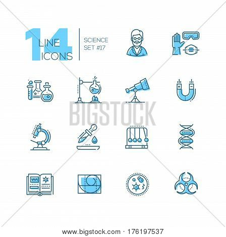 Science - coloured vector modern single line icons set. Scientist, glove, glasses, respirator, flask, telescope, magnet, microscope, pipette, pendulum, dna, book, spiral, microorganism, biohazard