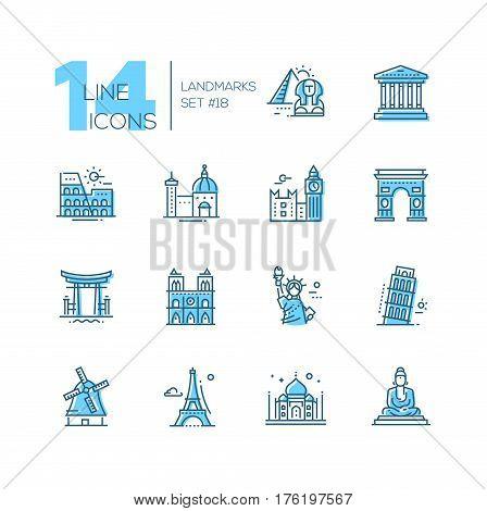 Landmarks - coloured vector modern single line icons set. Different landmarks as Statue of Liberty, Taj Mahal, Tower of London, Pyramid, Torii.