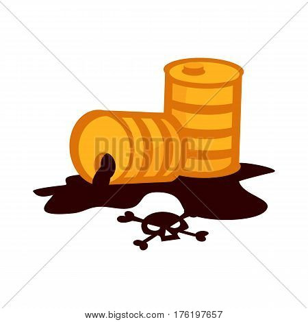 Oil drum container liquid cask storage object rows of steel barrel capacity tank and natural production station extracting cartoon old beverage box vector illustration. Metal petrol cargo industry.