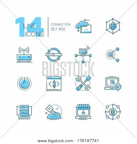 Connection - coloured vector modern single line icons set. Cloud, interlink, power button, folder, drive, key, laptop, check, internet, router.