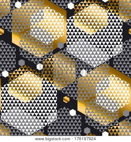 Gold and gray color creative repeatable motif with triangles and hexagon form for wrapping paper or fabric. Modern chaos seamless pattern vector illustration in geometric dinamic style.