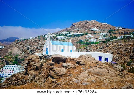 Beautiful wild landscape of Mykonos island, Greece