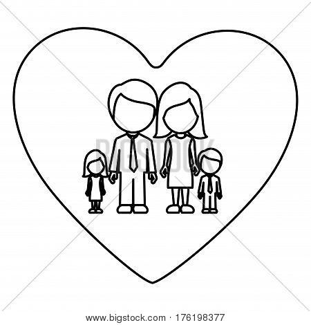 monochrome contour of heart with faceless family group vector illustration