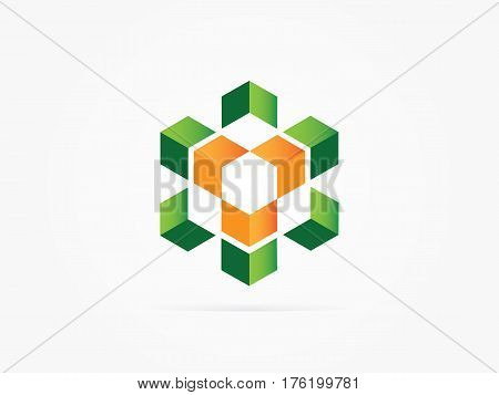 Vector Illustration eco engine logo concept icon green orens
