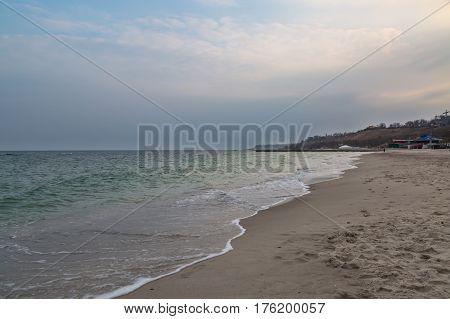 14 fontana beach in Odessa Ukraine with waves