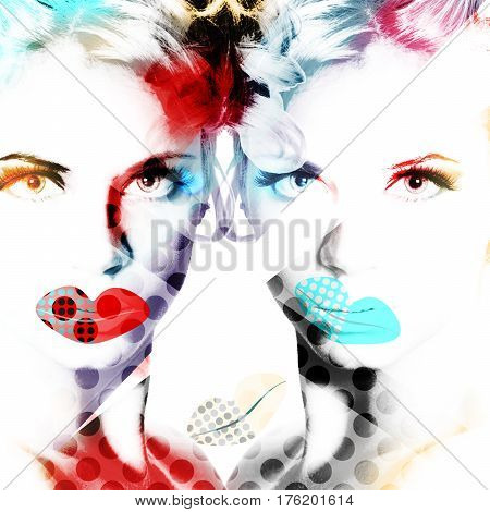 Modern Design Poster With A Portrait Of A Beautiful Girl..