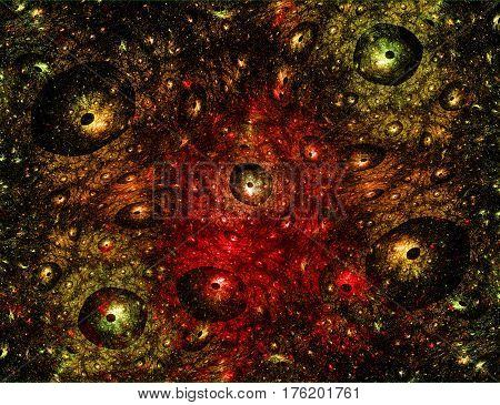A densely packed region of space filled with dust and strange planetoids.