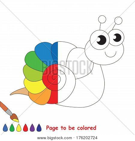 Rainbow snal to be colored, the coloring book to educate preschool kids with easy kid educational gaming and primary education of simple game level.