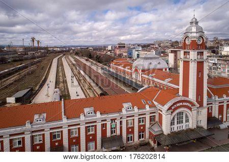 Varna Bulgaria - FEBRUARY 26 2017: General view of Varna central railway station the sea capital of Bulgaria.
