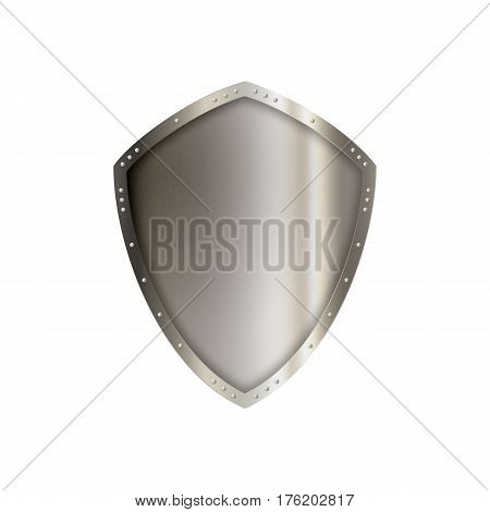 Ancient riveted shield isolated on white background.