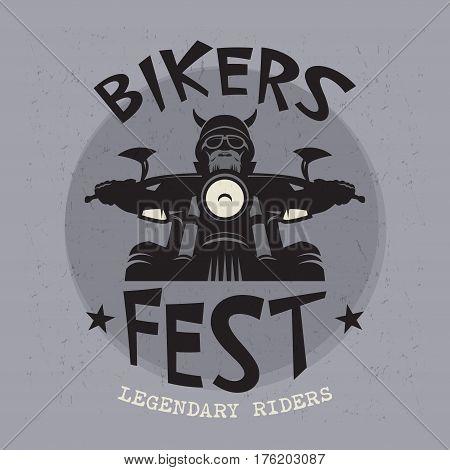 Biker riding a motorcycle poster with text Biker Fest Legendary Riders. Bikers event or festival emblem. Vector illustration