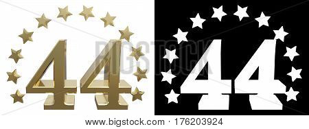 Gold number forty four decorated with a circle of stars. 3D illustration