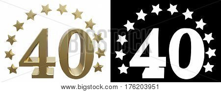Gold number forty decorated with a circle of stars. 3D illustration