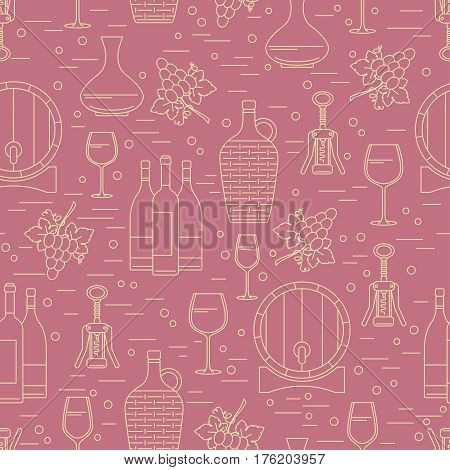 Winemaking design element on maroon background. Vector seamless pattern. Can be used for wallpaper poster design wrapping paper surface texture web backgrounds print on textile and covers