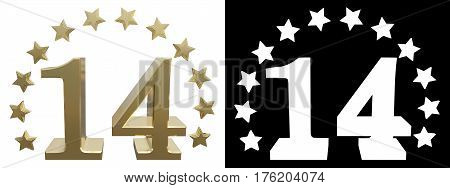 Gold number fourteen decorated with a circle of stars. 3D illustration