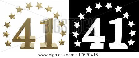 Gold number forty one decorated with a circle of stars. 3D illustration