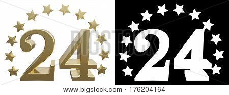 Gold number twenty four decorated with a circle of stars. 3D illustration