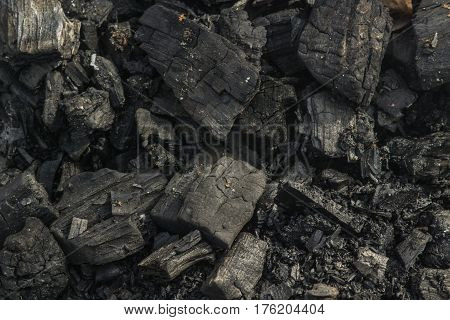 A fireplace. Coal. Ash. Place for barbecue