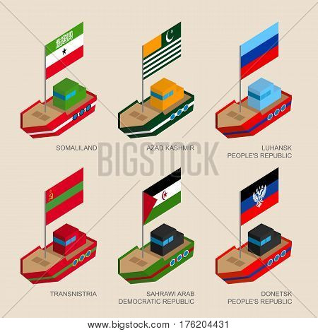 Set Of Isometric Ships With Flags Of Partially Recognised States