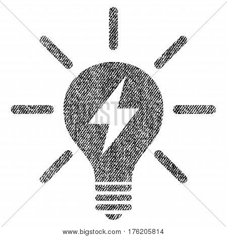 Electric Light Bulb vector textured icon for overlay watermark stamps. Fabric black vectorized texture. Symbol with dust design. Rubber seal stamp with fiber textile structure.