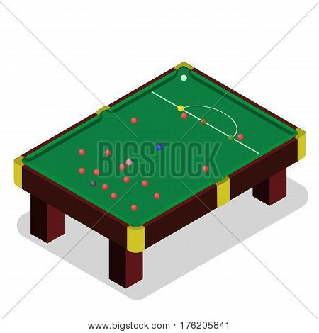 Snooker table in isometric style. 3d billiard table. Isometric view for website. Billiard table with balls.