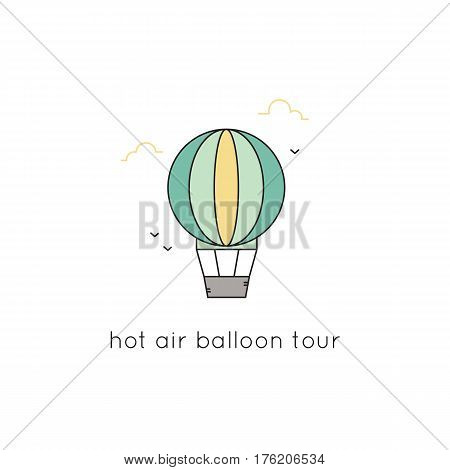 Hot air balloon vector thin line icon. Colored isolated symbol, aerostat. Logo template, element for travel agency products, tour brochure, excursion banner. Simple mono linear modern design.