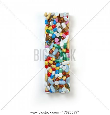 Letter I. Set of alphabet of medicine pills, capsules, tablets and blisters isolated on white. 3d illustration