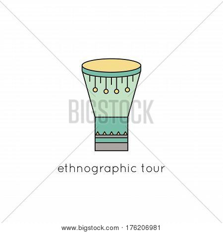 Goblet drum vector thin line icon. Colored isolated symbol. Logo template for ethnographic tour, element for travel agency products, tour brochure, excursion banner. Simple mono linear modern design.
