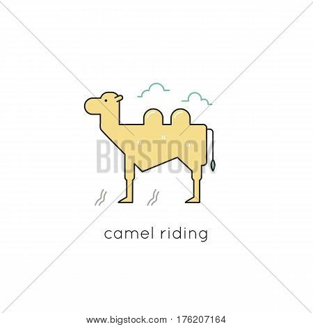 Camel vector thin line icon. Colored isolated symbol. Logo template for riding tour, element for travel agency products, tour brochure, excursion banner. Simple mono linear modern design.