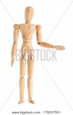 demonstration of wood manikin in stand and left handshaking pose on white background. in concept of business friendship and togetherness