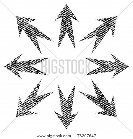Expand Arrows vector textured icon for overlay watermark stamps. Fabric black vectorized texture. Symbol with dust design. Rubber seal stamp with fiber textile structure.