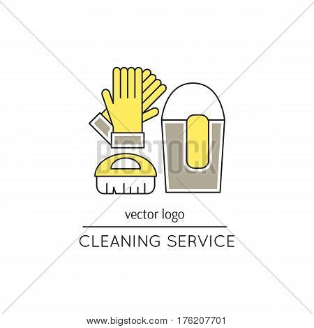 Vector thin line icon. Gloves, brush and bucket. Metaphor of cleaning and housekeeping. Logo template illustration for cleaning service. Colored isolated symbol. Mono linear modern design.