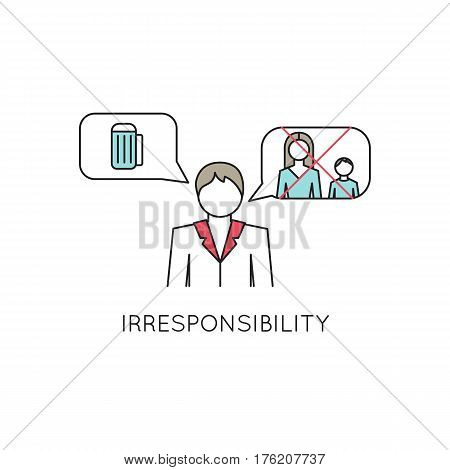 Vector thin line icon, problems in couple. Man, not thinking of the family. Metaphor of irresponsibility, indifference. Colored isolated symbol. Simple mono linear modern design.