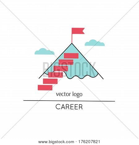 Vector thin line icon, stairs to the mountain top. Metaphor of achieving goals and career. Colored isolated symbol. Career growth, achievement and aspiration. Simple mono linear modern design.