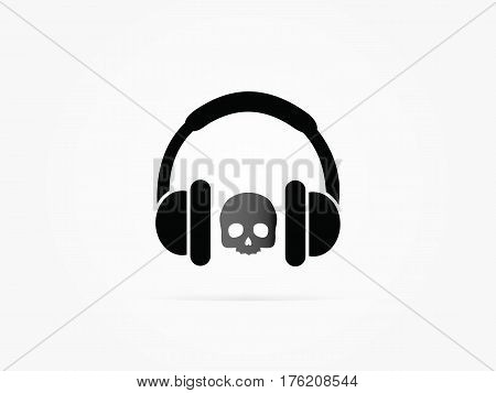 Vector Illustration image of human skull in black stereo ear-phones logo