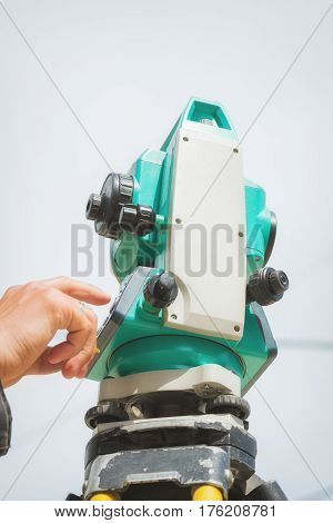 Theodolite instrument for measuring angles in construction industry.