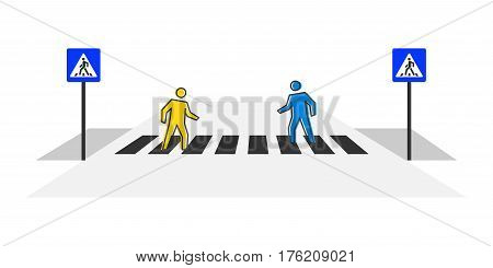 Pedestrian crossing vector illustration. Crosswalk with pedestrians and road signs creative concept. People crossing zebra graphic design.
