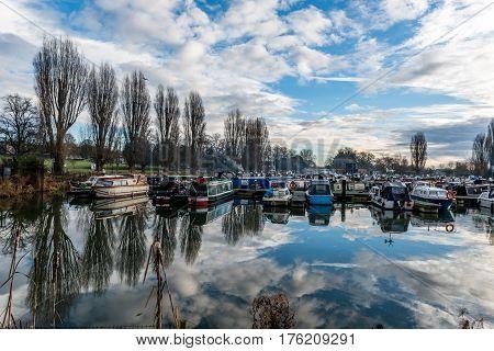 Boats parked at Marina in Northampton, United Kingdom