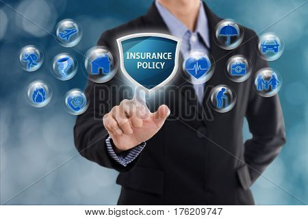business salesman agent with protection policy. concept accident prevention healthcare insurance.