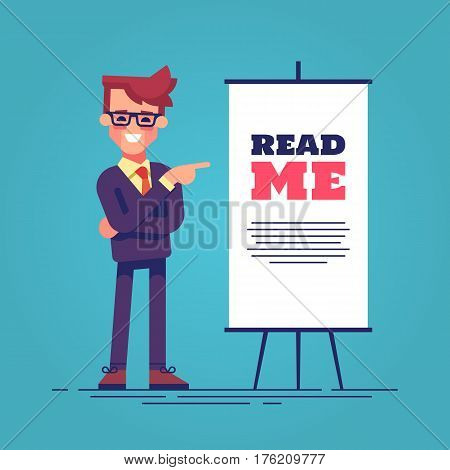 Look here. Happy young handsome businessman in suit pointing to the flipchart with the inscription read me. Flat vector illustration.