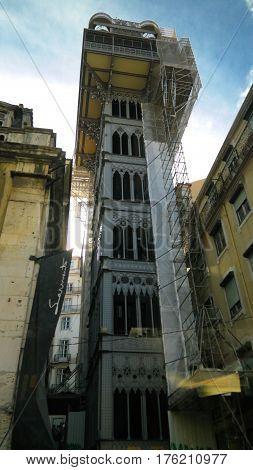 Exterior view to Elevador de Santa Justa in Lisbon, Portugal