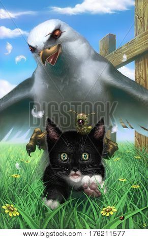 digital illustration of an evil mean seagull chasing a black and white kitten with a caterpillar