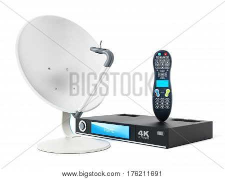 Satellite dish 4K ultra HD receiver remote controller isolated on white background. 3D illustration.