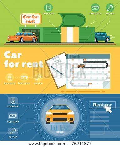 Car for rent banner set vector illustration. Automobile rental business, pre order and conclusion of contract for renting car service. Transportation advertisement with city car in flat design.