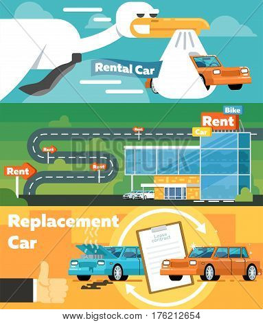 Car for rent banner set vector illustration. Automobile rental business infographic, replacement car, car showroom, express service concept. Transportation concepts with city car in flat design.
