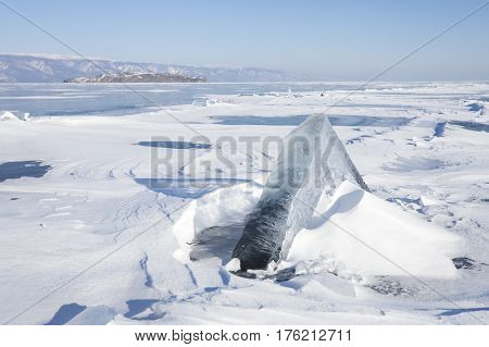 Ice Floe. Winter Landscape. Baikal Lake.