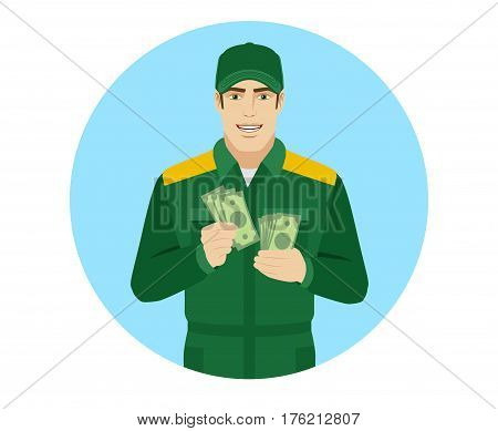 Man in uniform counts the money. Portrait of Delivery man or Worker in a flat style. Vector illustration.
