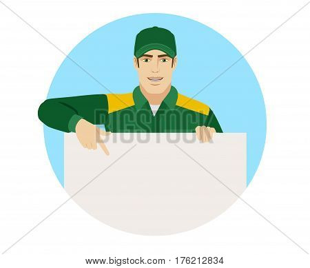 Man in uniform pointing at banner over white. Portrait of Delivery man or Worker in a flat style. Vector illustration.