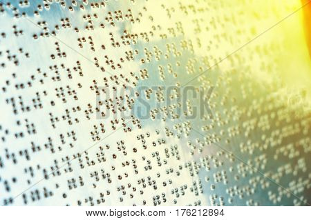 Braille text on metal sheet for blind people represent something about bear in the zoo.