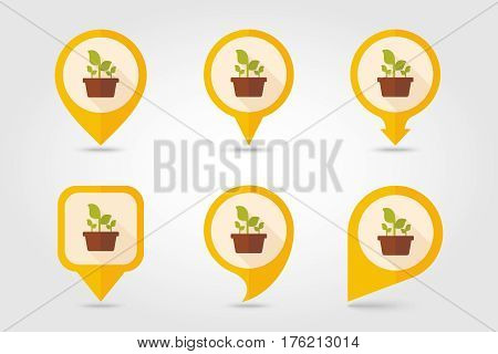Plant in pot flat pin map icon. Map pointer. Map markers. Garden Flowerpot. Vector Illustration eps 10